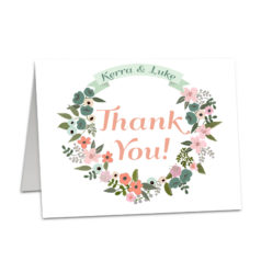 Floral Wreath Rustic Folded Thank You Card