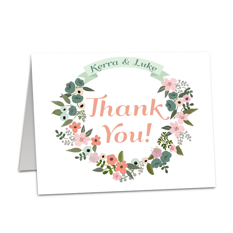 Floral Wreath Rustic Thank You folded card - The Print Cafe